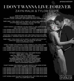 I don't Wanna live forever lyrics :)