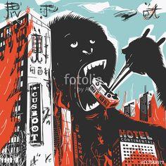 Wektor: Big Gorilla destroys City