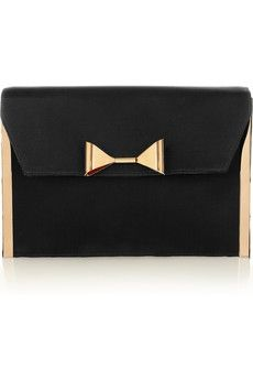 Chloé|Rachel bow-embellished satin clutch|NET-A-PORTER.COM - StyleSays