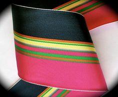 Ribbon Acetate 3 x 1 yard Navy Blue Hot Pink by LesBonRibbon