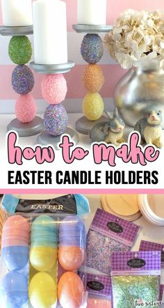 How to Make Easter Candle Holders – Use embellished plastic Easter Eggs to make this beautiful Easter Candle Holder. We have step by step instructions … Easter Projects, Easter Crafts For Kids, Fun Easter Ideas, Craft Projects, Summer Crafts, Fall Crafts, Christmas Crafts, Diy Crafts, Diy Interior