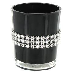 Black Glass Candle Holder with Faux Diamonds