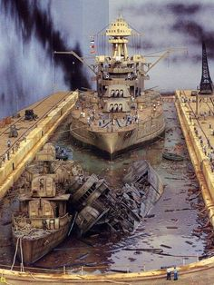 Battleship USS Pennsylvania and destroyers USS Shaw and USS Downes immediately following the Pearl Harbor raid. (model diorama)