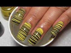 Bumblebee Water Marble Nail Art Tutorial (Water Marble March #8)