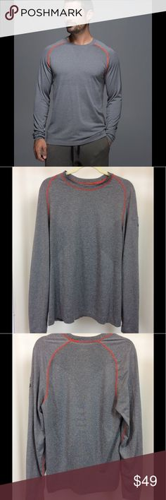 """Lululemon Metal Vent Tech Long Sleeve Shirt Men's Lululemon Metal Vent Tech Long Sleeve Shirt. Size large; 20.5"""" width, 29"""" length. In heather grey with bright orange contrast stitching. """"Visualize your victory, realize your goals, believe in yourself, and make sure to drink a beer or two along the way,"""" written along inside hem. In very good used condition. lululemon athletica Shirts Tees - Long Sleeve"""