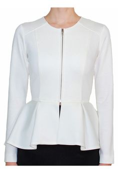 The perfect peplum in a white jacket you can throw on over a shift dress for work or match with a pair of skinny jeans for day tripping. (But that's just for starters.) Women's Retro Jacket by Hunter Dixon @Hunter Dixon
