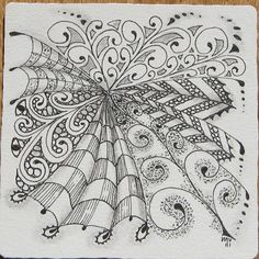 Zentangle by Certified Zentangle Teacher Maria Vennekens ~ I had the wonderful fortune of sitting next to Maria in CZT training in 2010. Zentangle  - doodle - doodling - black and white zentangle patterns. zentangle inspired - #zentangle #doodling #zentangle patterns