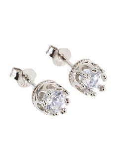 Silver Plated Rhinestone Crown Stud Earrings