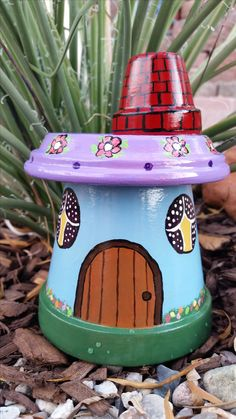 Gnome Garden House Clay Pot - yard art - terracotta pots - garden decoration. Image only.