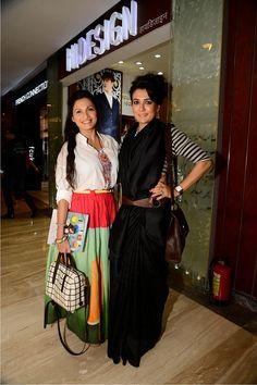 Maria Goretti and Mini Mathur seen at the store for Churidar, Salwar Kameez, Mini Mathur, Fashion Books, Women's Fashion, Saree Blouse, Sari, Maria Goretti, Bollywood Designer Sarees