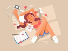 Girl listening to music by Anton Fritsler (kit8) - Dribbble