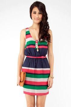 stripes upon stripes pastel dress
