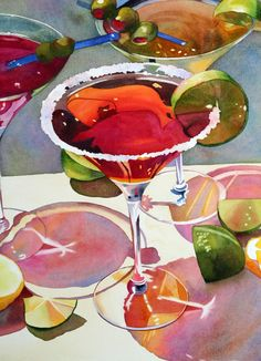[— Anne Abgott   Award-Winning Watercolor Artist]  ... Beautiful artistic interpretation of cocktails!