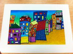 oil pastel city