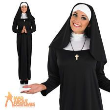 Adult Nun Costume Ladies Sister Act Fancy Dress Sexy Outfit New UK 8-22