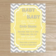 Baby Shower Invitation - Grey and Yellow Baby Shower Invitation - Printable Baby Shower Invite - Digital File