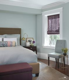 Master Bedroom - modern - bedroom - boston - Rachel Reider Interiors. Charmean Neithart Interiors, LLC. Try Quiet Moments 1563 by Benjamin Moore or Turquoise Mist 695 by BM. Good luck with your project