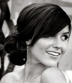 Beautiful classy and formal bun hairstyle with fringe