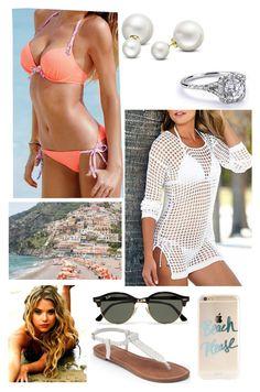 """Madison Alena Levy-St.John~Positano Beach"" by msmarvel70 ❤ liked on Polyvore featuring Beach Sexy, Apt. 9, Allurez and Ray-Ban"