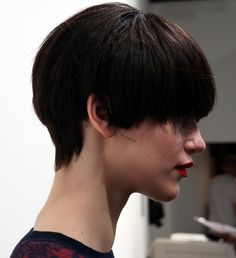 J. JS Lee FW15 boy-meets-girl, short, boyish hairstyle by Halley Brisker from Jed Root.