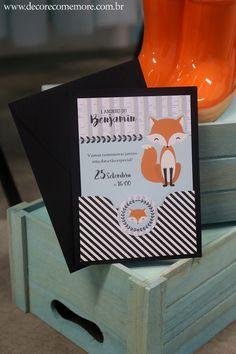 Convite personalizado tema Raposa.  Design, produção e fotografia por Decore & Comemore, Curitiba PR Brasil. http://www.decorecomemore.com.br