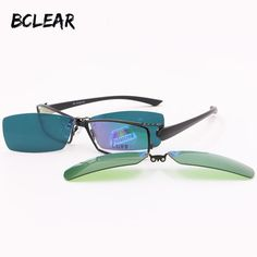68ab251c070 BCLEAR Day and Night Driving Polarized Clip Sunglasses Glasses Quality  Optical Mopia Frame Eyeglasses Male Frame clip on sets-in Sunglasses from  Men s ...