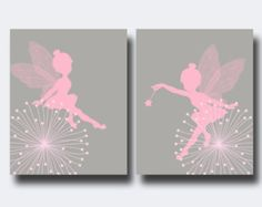 Fairy Nursery Wall Print, Baby Girl Pink and Gray Fairy Wall Print, Girls Bedroom Decor- N174,175 -custom color $13.46