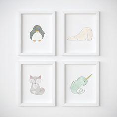 Arctic Fox Nursery Art Print Set  Winter Animals by PipitAndFox #EtsyFinds