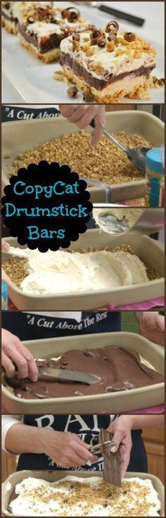 Drumstick Bars Recipe   Copycat Ice Cream Treat Dessert