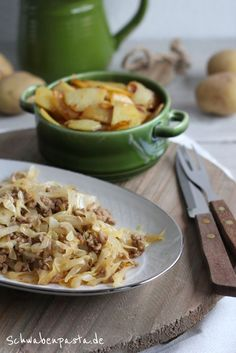 Spitzkohlgemüse mit Hackfleisch in RahmsauceSchwabenpasta
