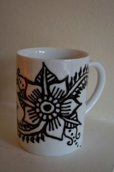 Henna Inspired Hand Painted Flower Mug by JensHennaArt on Etsy, £9.50