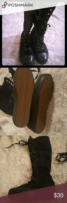 NWOT Tall converse like shoes Converse like shoes, go right up to the knee.  Silver and black laces Never worn 1 inch platform Hot topic  Goth  Punk  Metal Hot Topic Shoes Sneakers