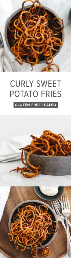(gluten-free, paleo, whole30) Curly sweet potato fries are easily made with a spiralizer. They're seasoned with paprika and garlic powder and baked in the oven until perfectly crispy.