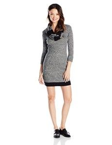 04d4b94cc16 Derek Heart Junior s 3 4 Marled Stripe Scoop Neck Sweater Dress 3 4 Sleeve  Dress