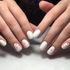 Delicate Wedding Nails Light Summer White Gel Polish Nail Art