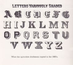 typeworship:  Letters Variously Shaded 12 styles of letter shading from the 1880s shown in Decorative Alphabets and Initials, Edited by Alexander Nesbitt. Could be a handy reference but things have definitely moved on a bit…