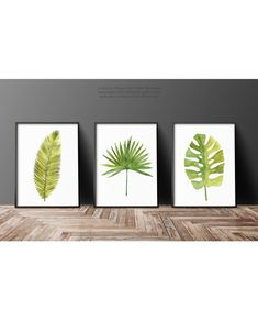 Watercolor Leaf Abstract Wall Decor Modern Painting. Minimalist Palm Leaves Print Green Wall Decor set of 3 Botanical Tropical Art. Plant Poster