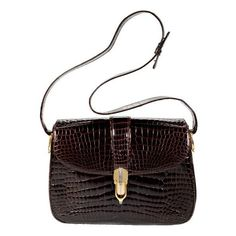 Gucci Vintage Crocodile Shoulder Bag (33.570 ARS) ❤ liked on Polyvore featuring bags, handbags, shoulder bags, purses, bolsas, borse, brown purse, shoulder hand bags, brown handbags and purse shoulder bag