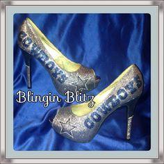 Dallas Cowboy glitter rhinestone heels