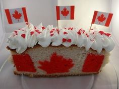 Make a Canada Day cake that has a Canadian flag in each slice. Canada Day is July when Canada will be 146 years old. Another Canada Day idea, the Canada . Canada Day Party, Easy Pound Cake, Flag Cake, Themed Cakes, How To Make Cake, Fun Desserts, Birthday Cake, Sweets, Candy