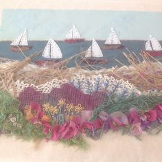 Hand embroidered seascape with applique