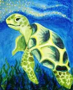 Easy Paintings of Sea Turtle Easy Paintings, Animal Paintings, Paintings Of Fish, Diy Painting, Painting & Drawing, Beginner Painting, Wine And Canvas, Art Plastique, Painting Inspiration