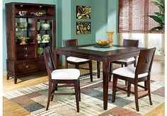 shop rooms to go ciara espresso pc dining set with brown chairs paececacebf.