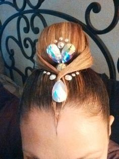 High Bun With Simple #Rhinestone Accents. Good Hairstyle For Both Latin & Standard Ballroom. http://dancingfeeling.com/index.html