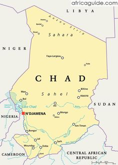 Chad is a landlocked country located Central Africa. Libya lies to the North, Niger and Nigeria to the west, Cameroon to the southwest, Central African Republic to the southeast and Sudan to the east.  Chad has three distinct geographical regions, dry plains and desert to the central and north of the country, mountains in the northwest, and lowlands in the south.
