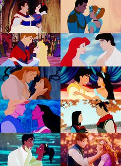 Snow White, Cinderella, Sleeping Beauty, The Little Mermaid, Beauty and the Beast, Aladdin, Pocahontas, Mulan, The Frog Prince, Tangled