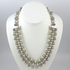 Fluted Silver Bead Necklace