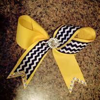 Black & Yellow Chevron Cheer Bow!