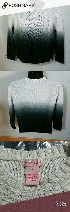 Sweater Gorgeous Ombre Knit Sweater. Color is very dark navy, almost black. Worn and washed once. No flaws. Design History Shirts & Tops Sweaters