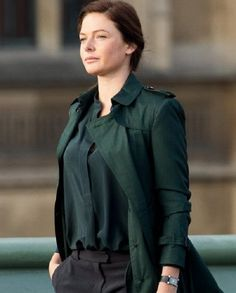 Mission Impossible 5 Rebecca Ferguson Trench Coat is made of quality green cotton fabric. Rebecca Ferguson, Mission Impossible 5, Green Trench Coat, Swedish Actresses, Beautiful Girl Image, Simple Outfits, Bellisima, Coats For Women, Shirt Style